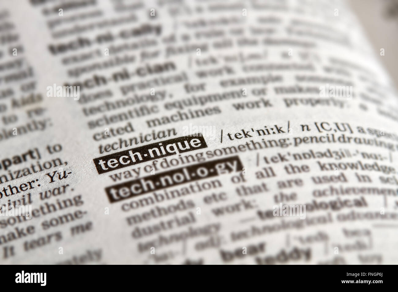 Tecnica di definizione parola di testo nella pagina del dizionario Immagini Stock