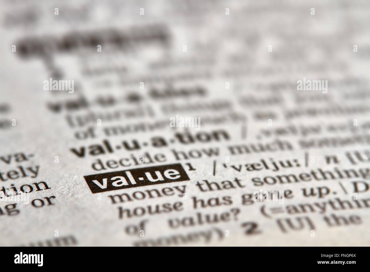 Valore definizione parola di testo nella pagina del dizionario Immagini Stock