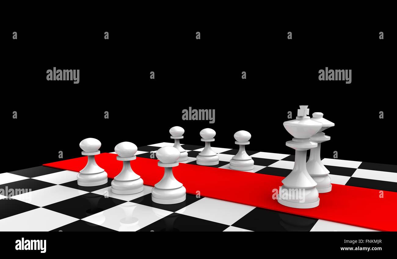 White il re e la regina con pedine di una scacchiera Immagini Stock