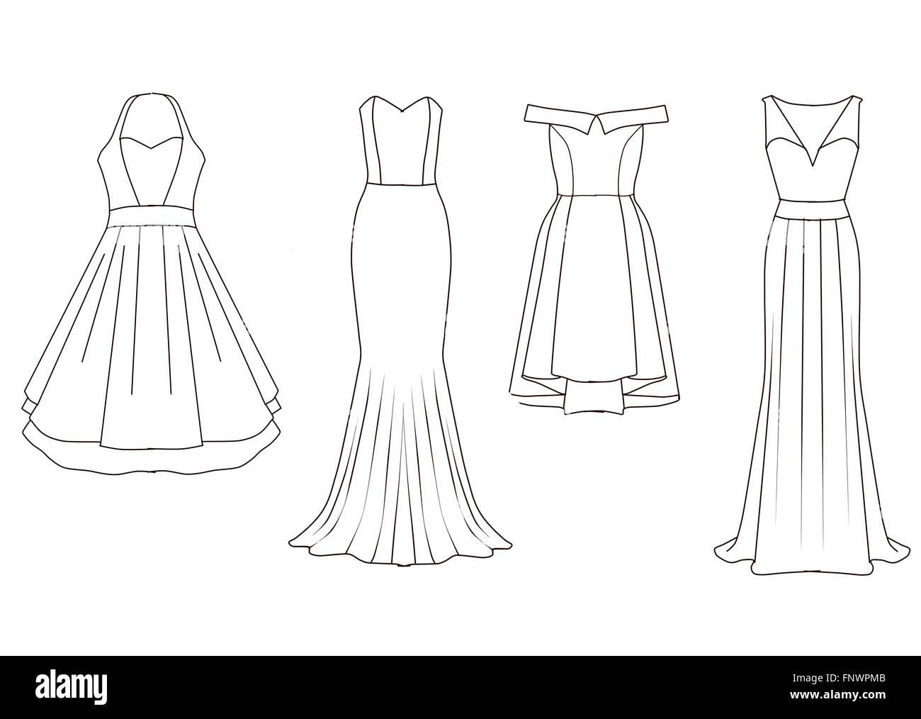 68741e031829 Set di moda modelli piatto schizzi - donna abiti - breve e di media  lunghezza