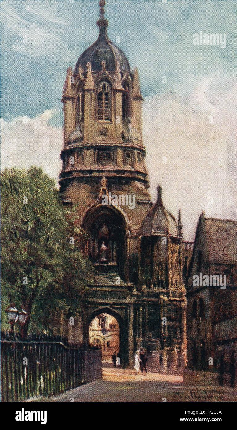 Tom Tower, Christchurch College di Oxford nei primi anni del XX secolo Immagini Stock