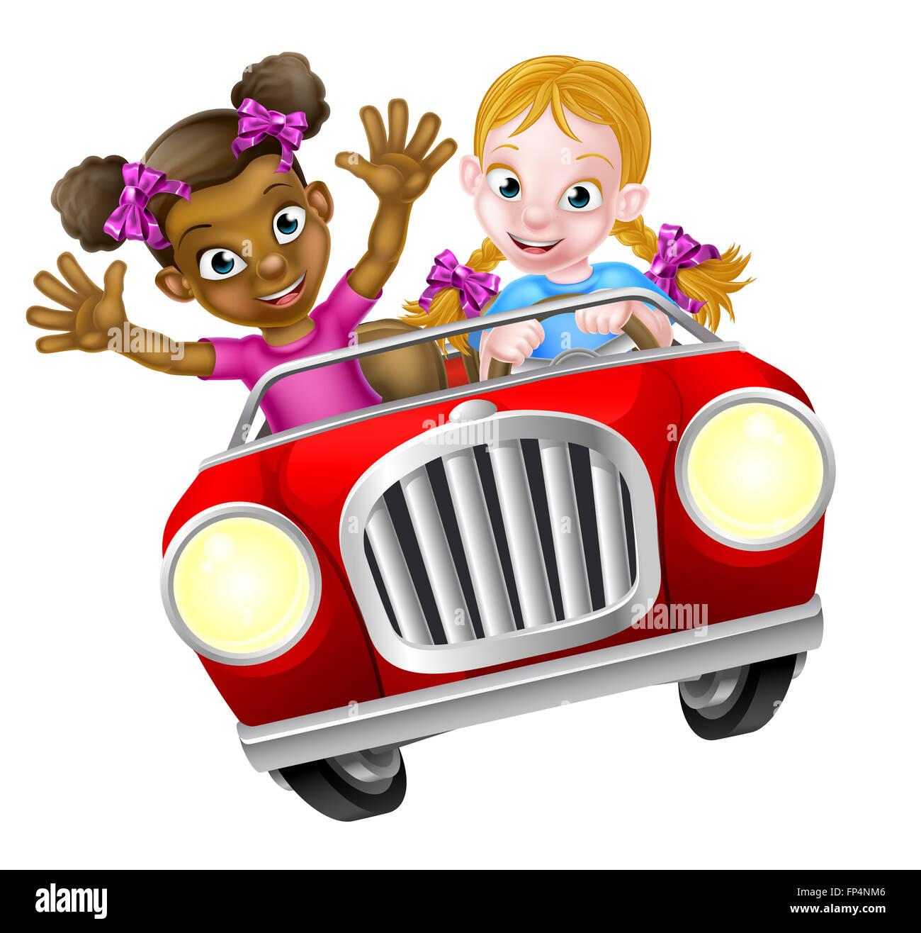 Due ragazze cartoon avendo divertimento di guida veloce in