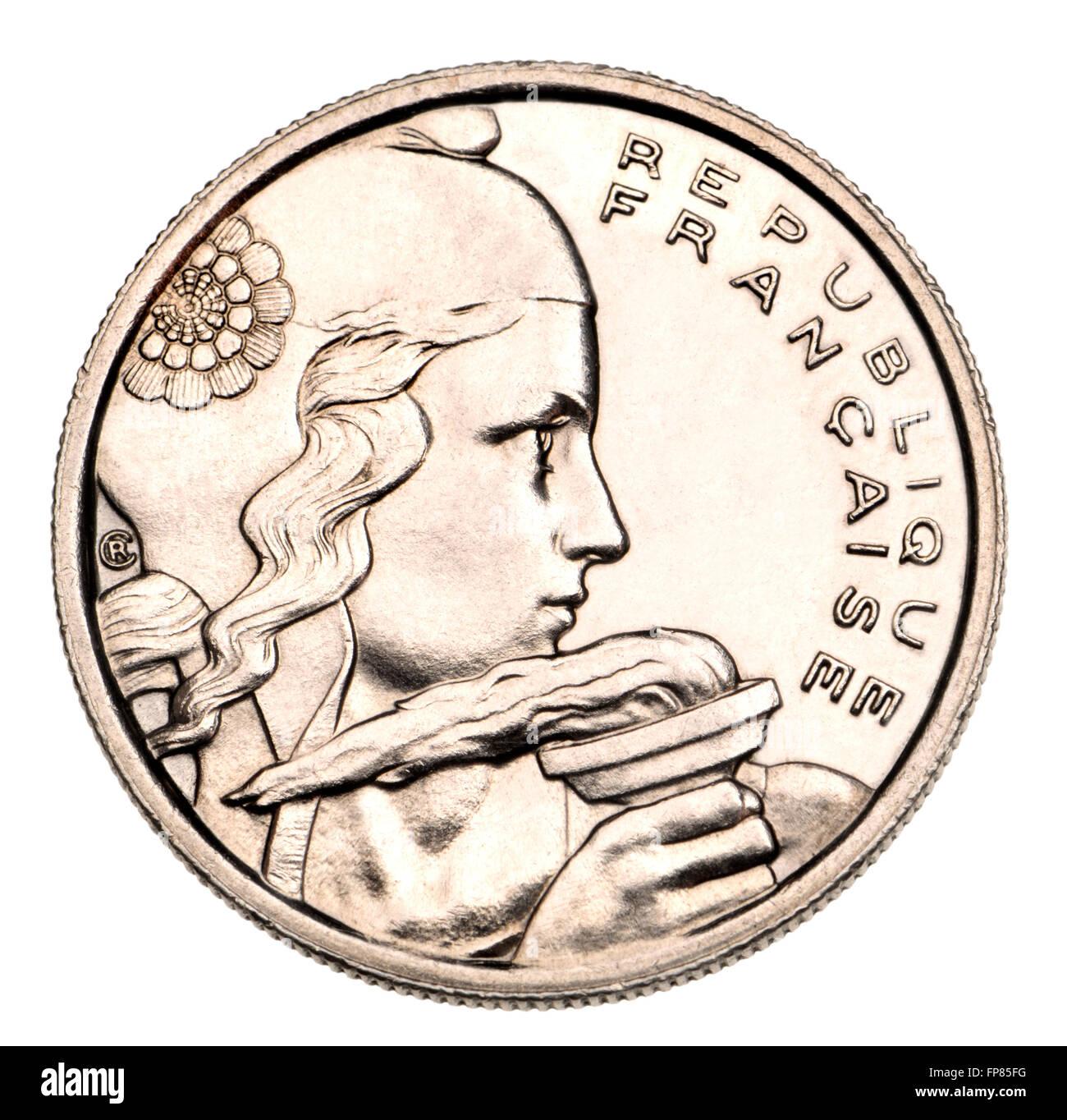 Moneta francese - 100F, 1955, mostrando la libertà tenendo una torcia [pulite digitalmente up] Immagini Stock