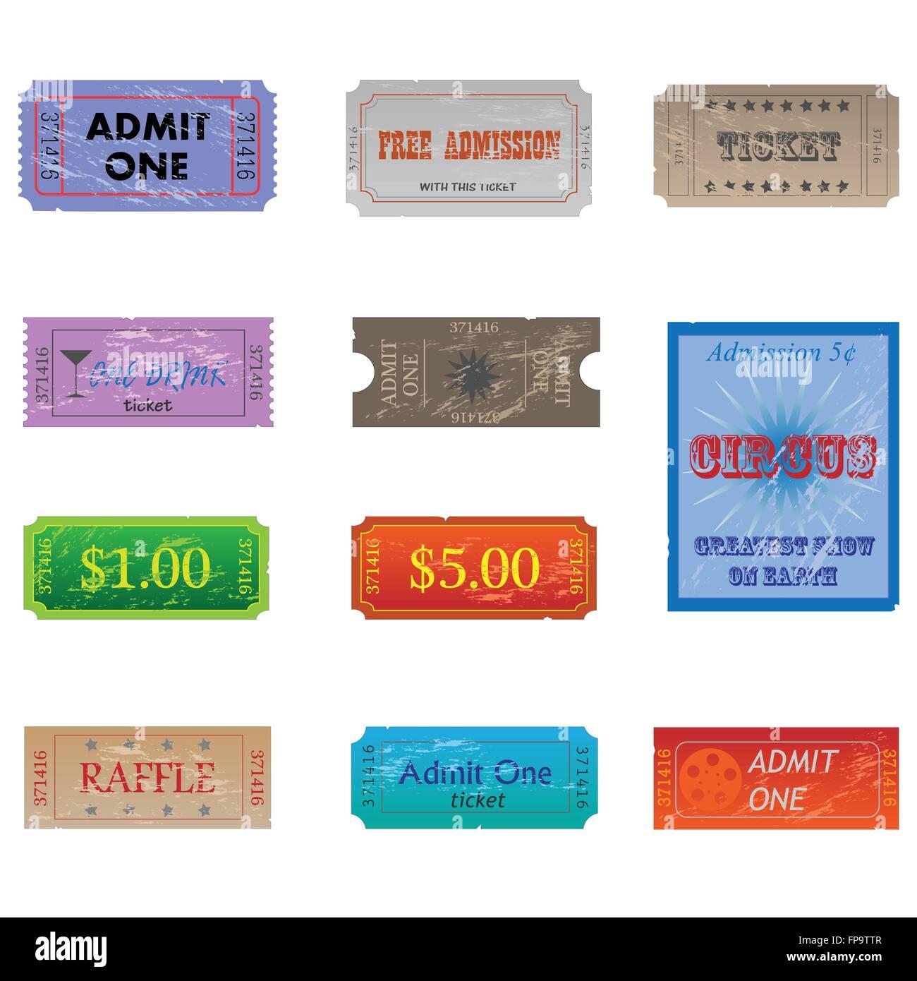 Immagine di vari vintage e indossato i biglietti. Immagini Stock