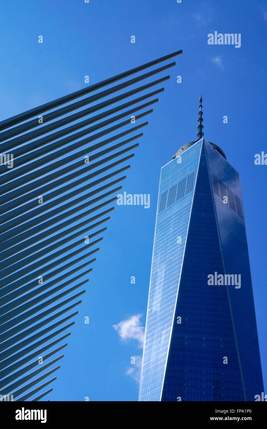 Occhio con Freedom Tower aka One World Trade Center, Manhattan, New York City, Stati Uniti d'America Immagini Stock
