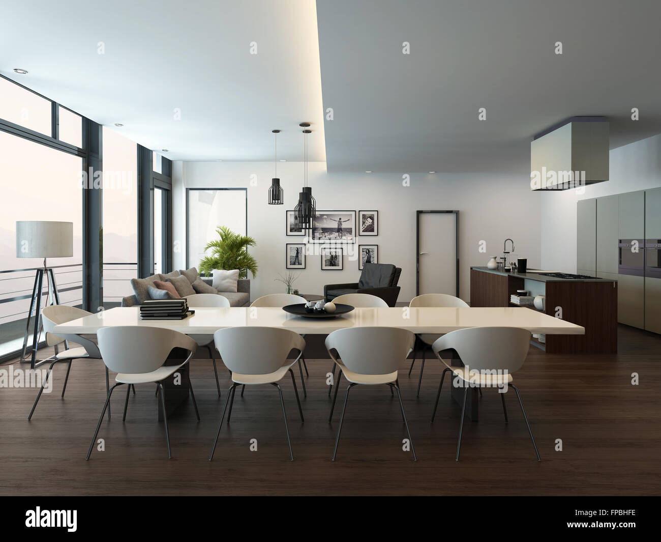 Il lusso moderno appartamento soggiorno interno con pavimento in ...