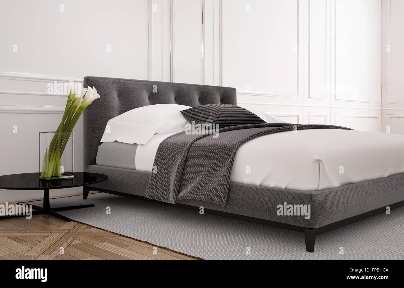 Semplice interiore camera da letto con letto doppio, pavimento in ...