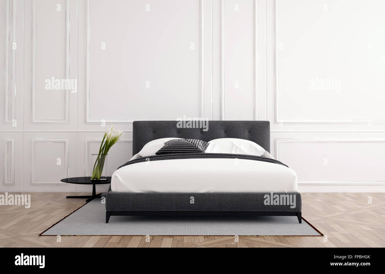 Elegante camera da letto minimalista con interno bianco ...