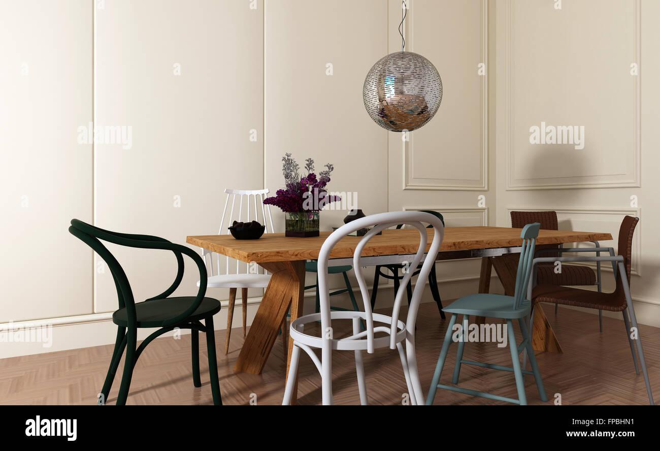 Sedie Bianche E Legno : Sala da pranzo moderna con interni semplici di legno tavolo e