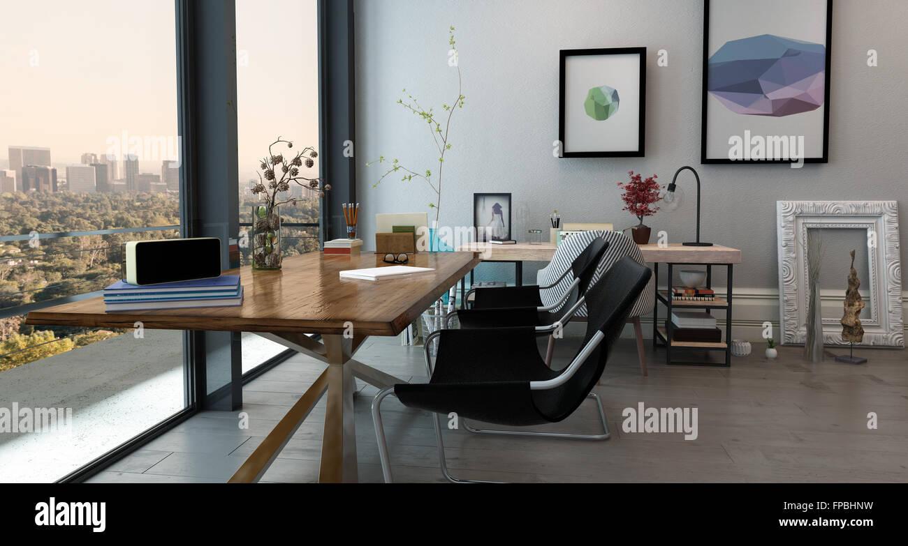home office space office. Panoramica Interna Del Concetto Aperto Ufficio In Alto E Moderno Appartamento - Lungo Tavolo Con Sedie Stile Eclettico Home Office Space Vista