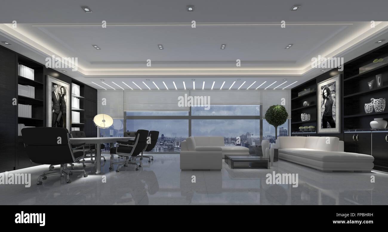 Large open-plan soggiorno moderno con un tavolo da pranzo e sedie e ...