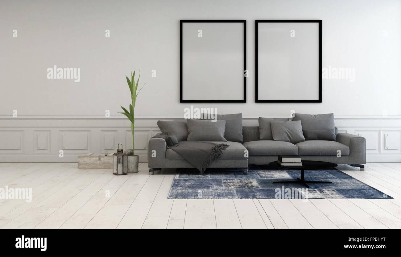 Minimalista grigio e bianco salotto interno con un for Quadri parete