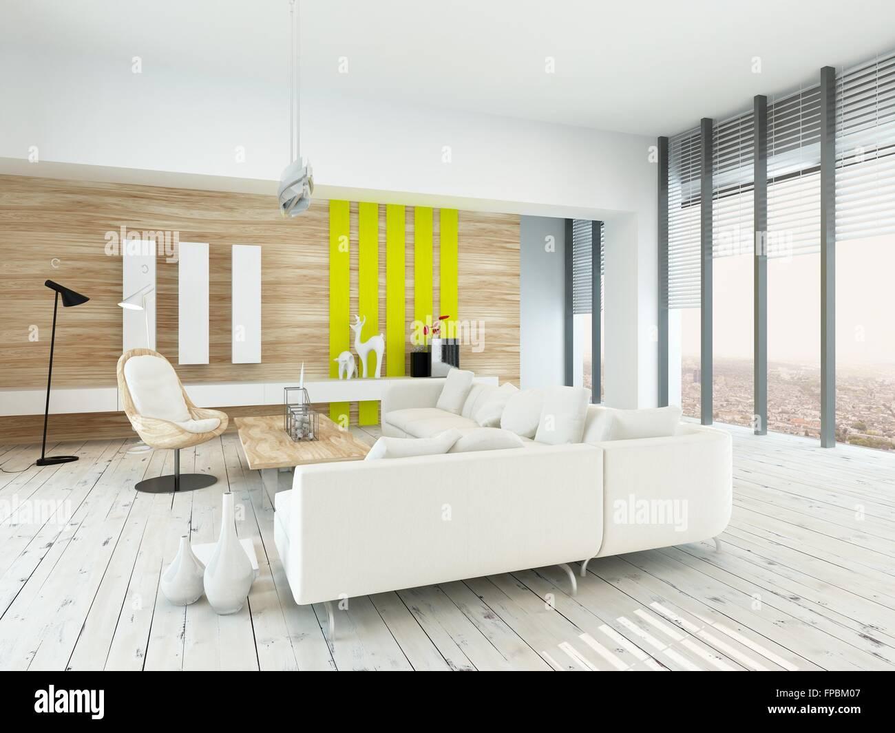 Pavimento Bianco Colore Pareti : Luminoso soggiorno arioso con decorazioni rustiche con legno