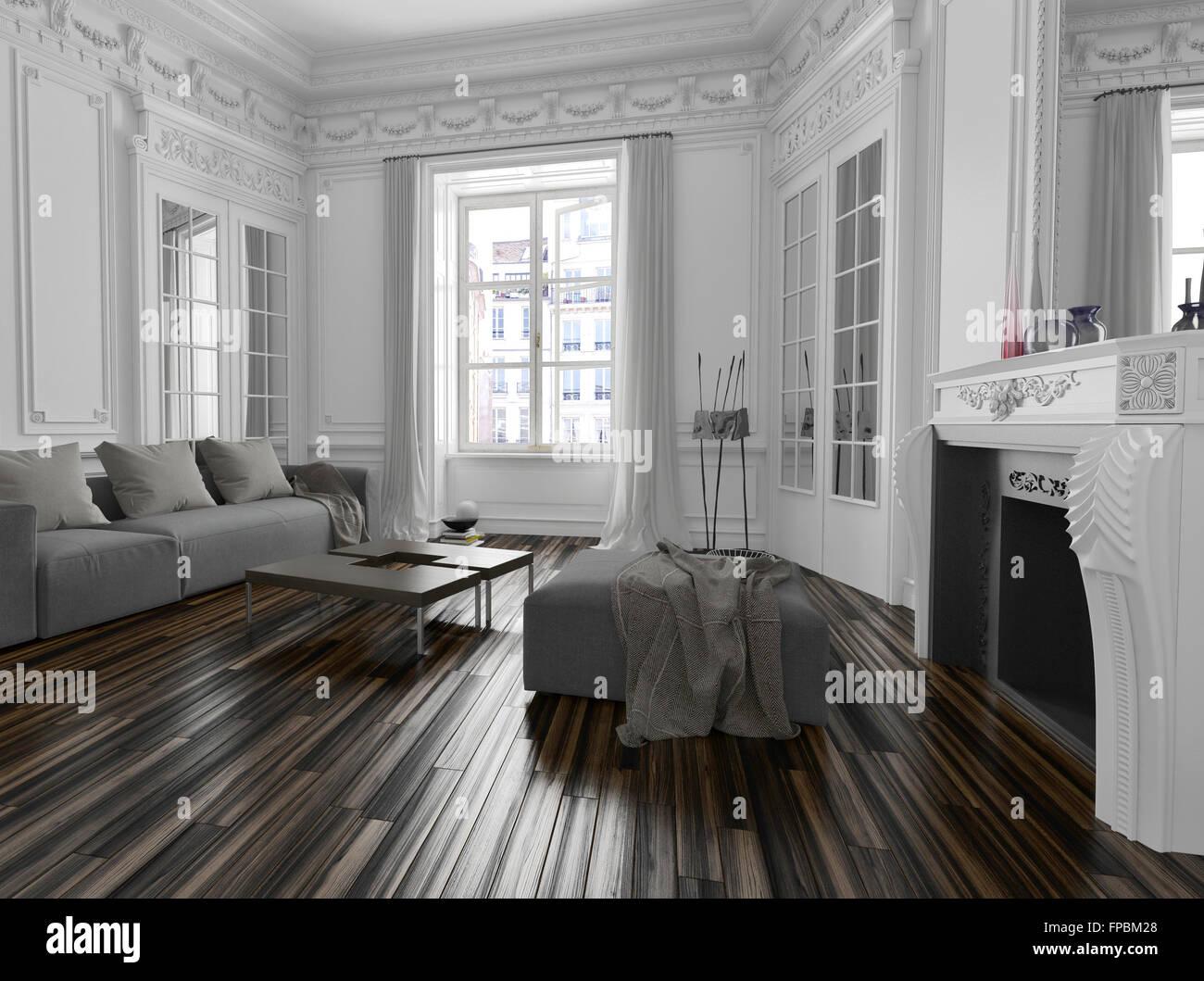 Bianco classico soggiorno interno con cornice architettonica di ...