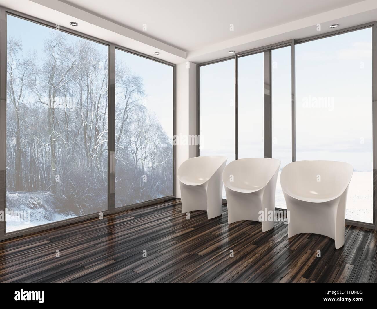 Tre modulari moderne sedie bianche in piedi in fila su di un legno