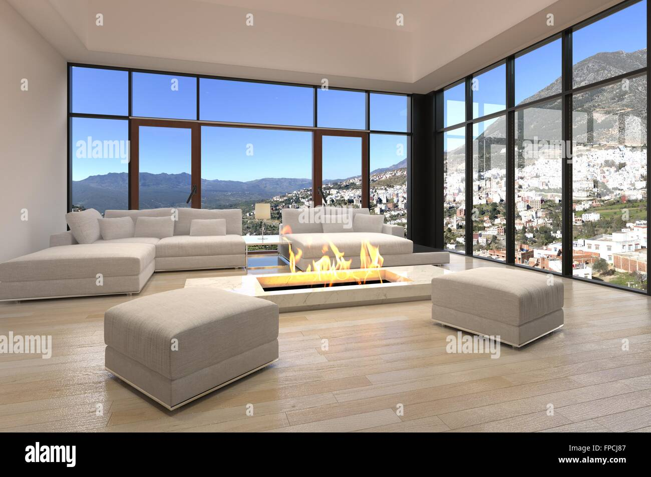 Sedie Bianche Design : Architettura interior design camino centrale in elegante soggiorno
