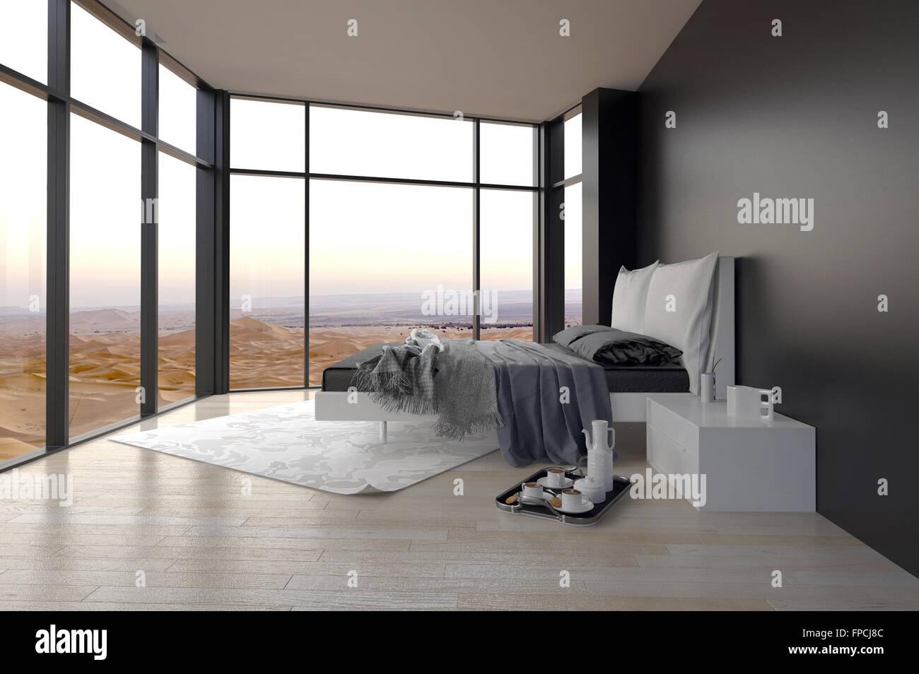 Elegante grigio e bianco interiore camera da letto con avvolgere dal ...