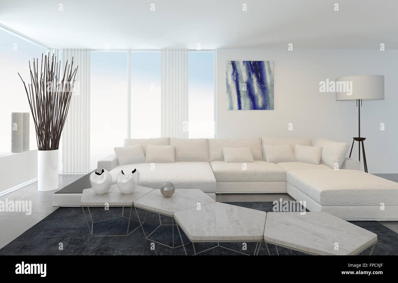 Interno del Soggiorno moderno con mobili bianchi Foto & Immagine ...