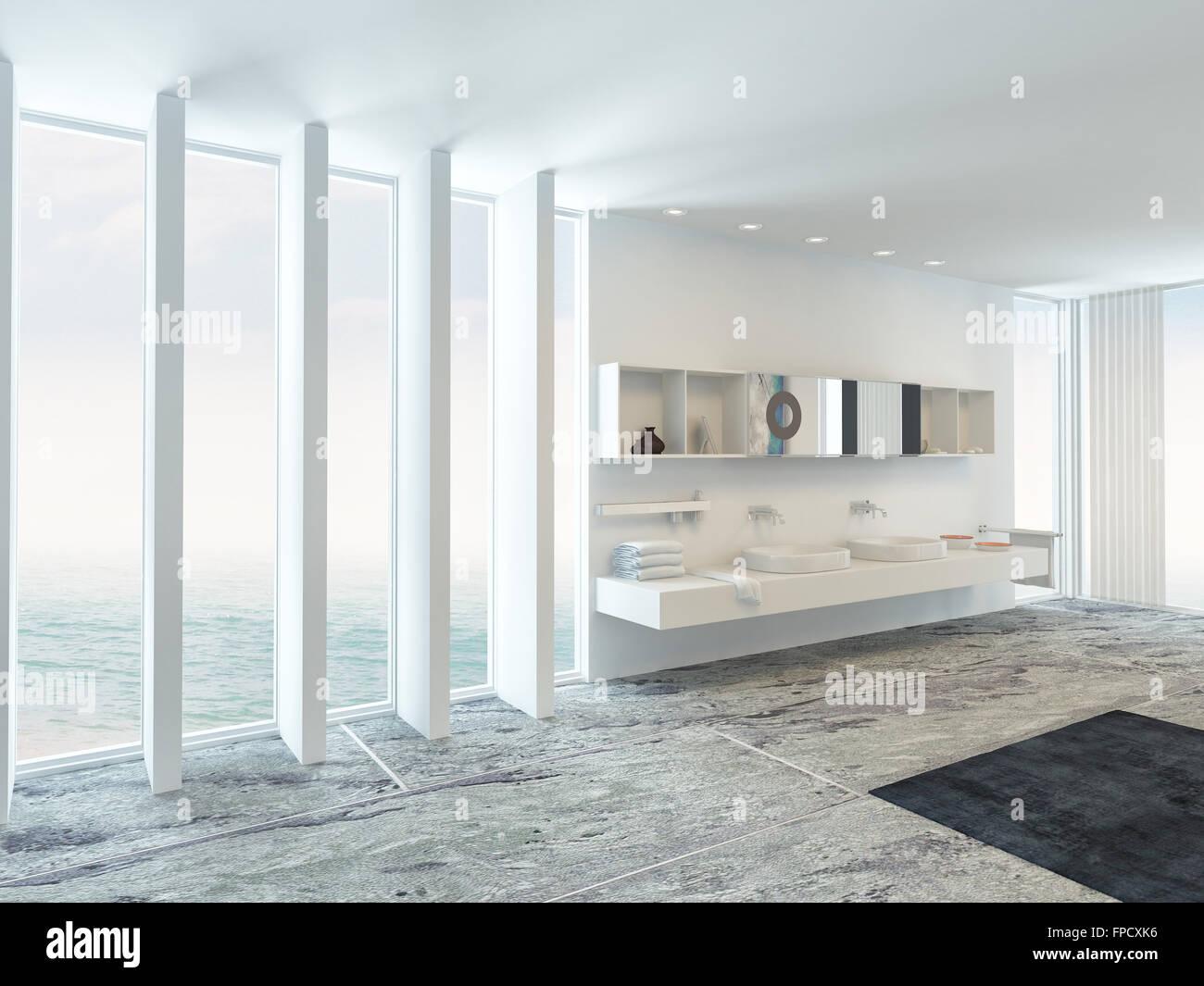 Molto spaziosa e luminosa moderno bagno interno con pavimento al