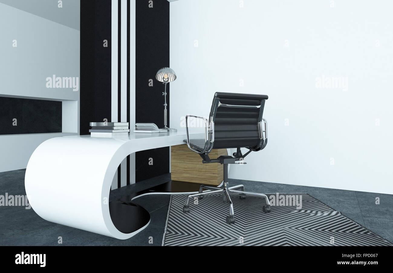Modulari curvi bianco moderno scrivania in un ufficio con una d