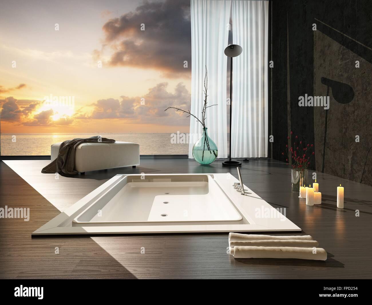 Vasca Da Bagno Romantica Con Candele : Romantico bagno moderno interno al tramonto con una vista di un