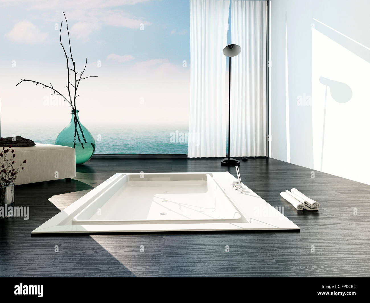 Vasche Da Bagno Moderne : Elegante vasca da bagno incassata in un bagno moderno con grandi