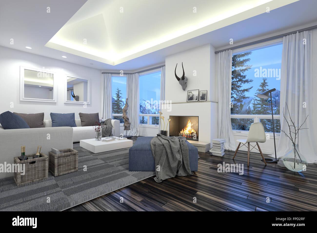 Spazioso soggiorno moderno con un fuoco nel camino, illuminazione a ...