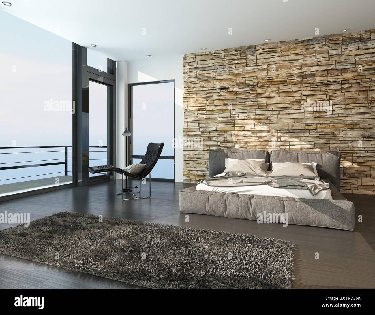 Moderno e luminosa camera da letto che si affaccia sul mare con un balcone e vista finestra - Letto che si chiude ...