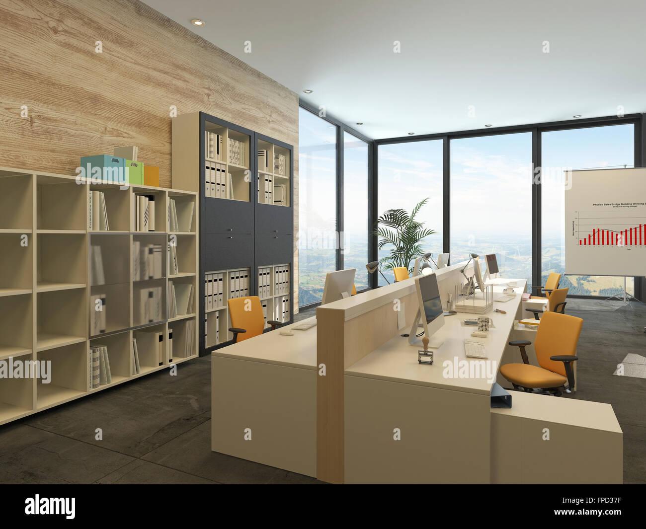 Ufficio Moderno Sa : Moderno ufficio open space con più workstation in una spaziosa