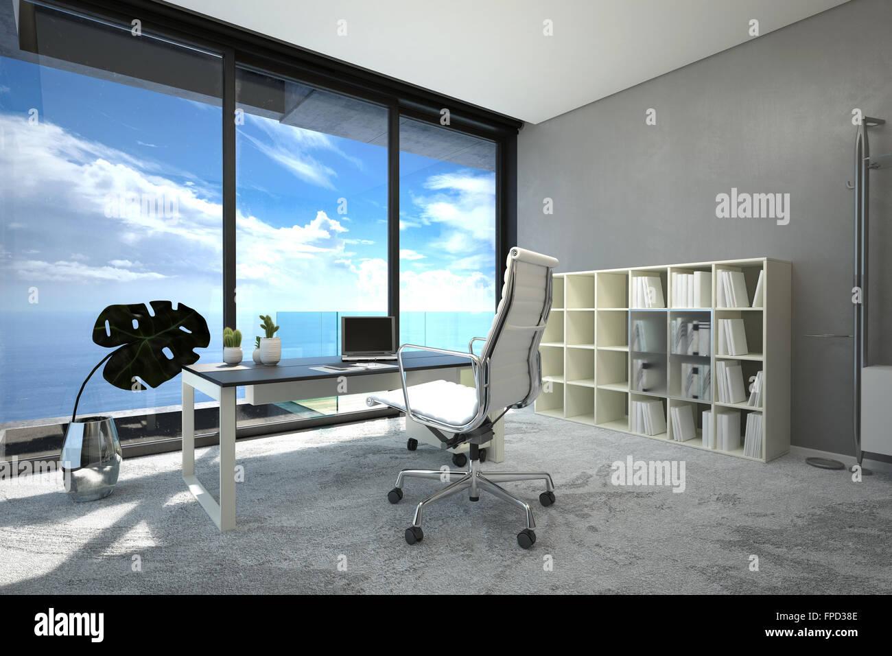 Ufficio Bianco E Grigio : Moderno e luminoso spazioso ufficio interno con una grande finestra