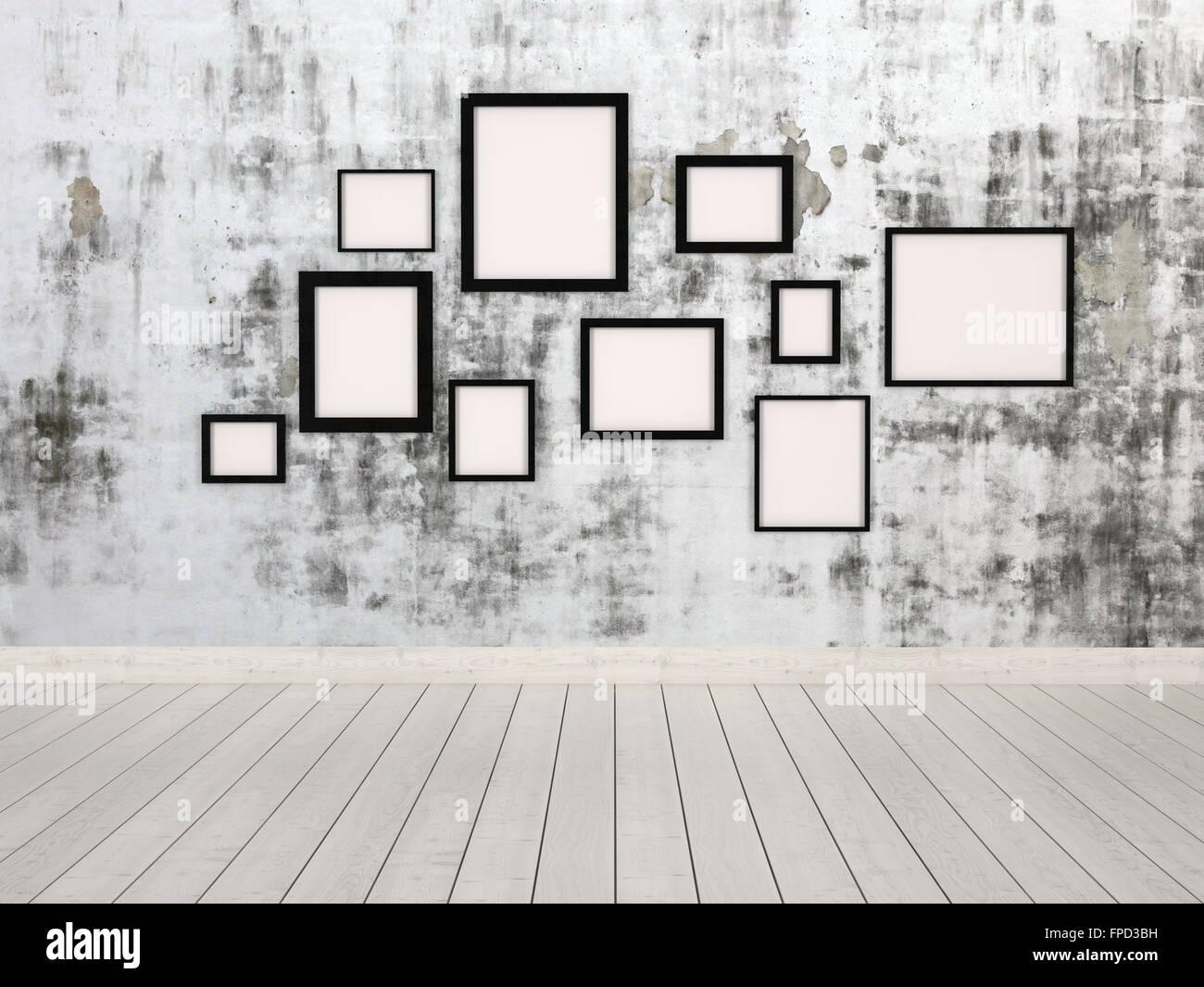 Pareti Con Cornici Diverse gruppo di vuoto rettangolare semplice cornici in diverse
