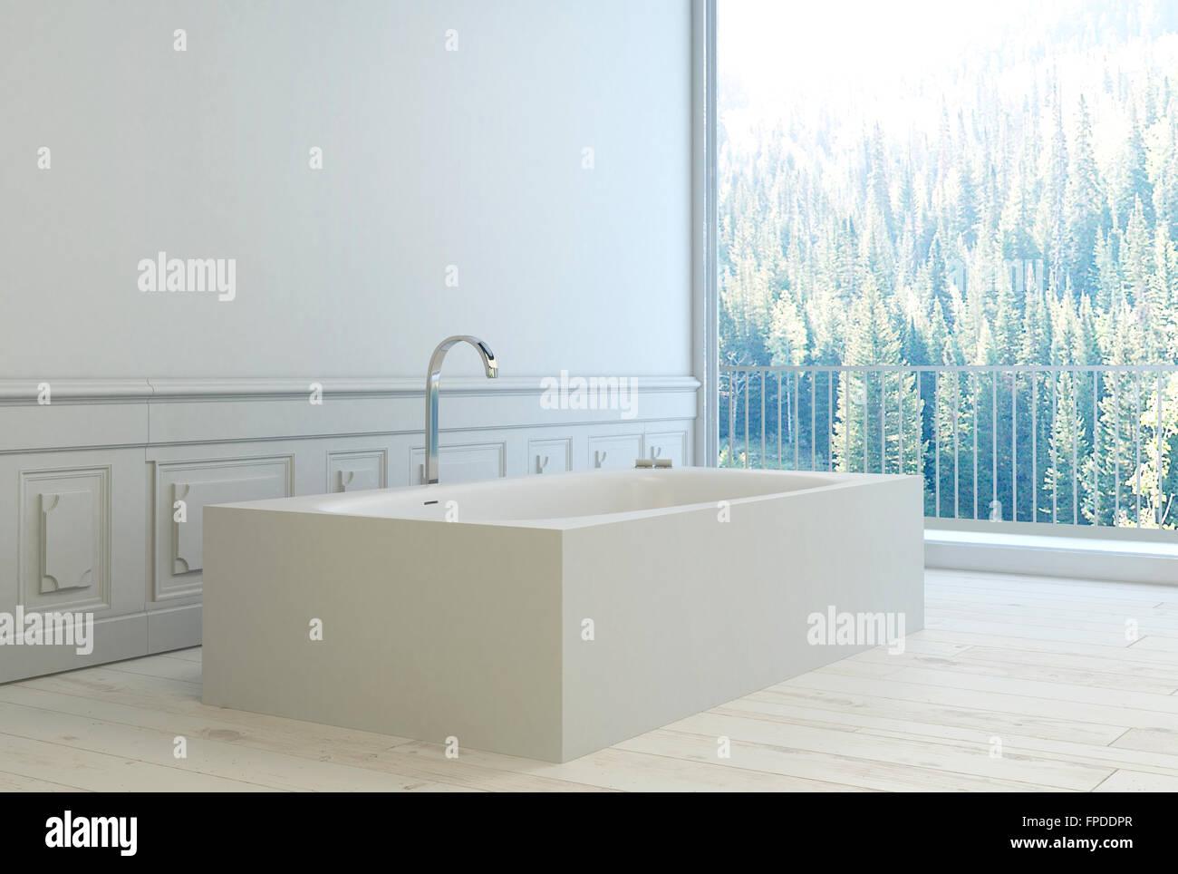Boiserie Bagno Moderno : Moderno e minimalista bagno bianco interno con boiserie in legno