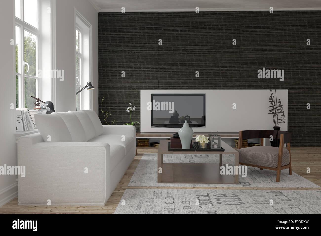 Pareti Con Foto In Bianco E Nero : Confortevole e moderno in bianco e nero salotto interno con un