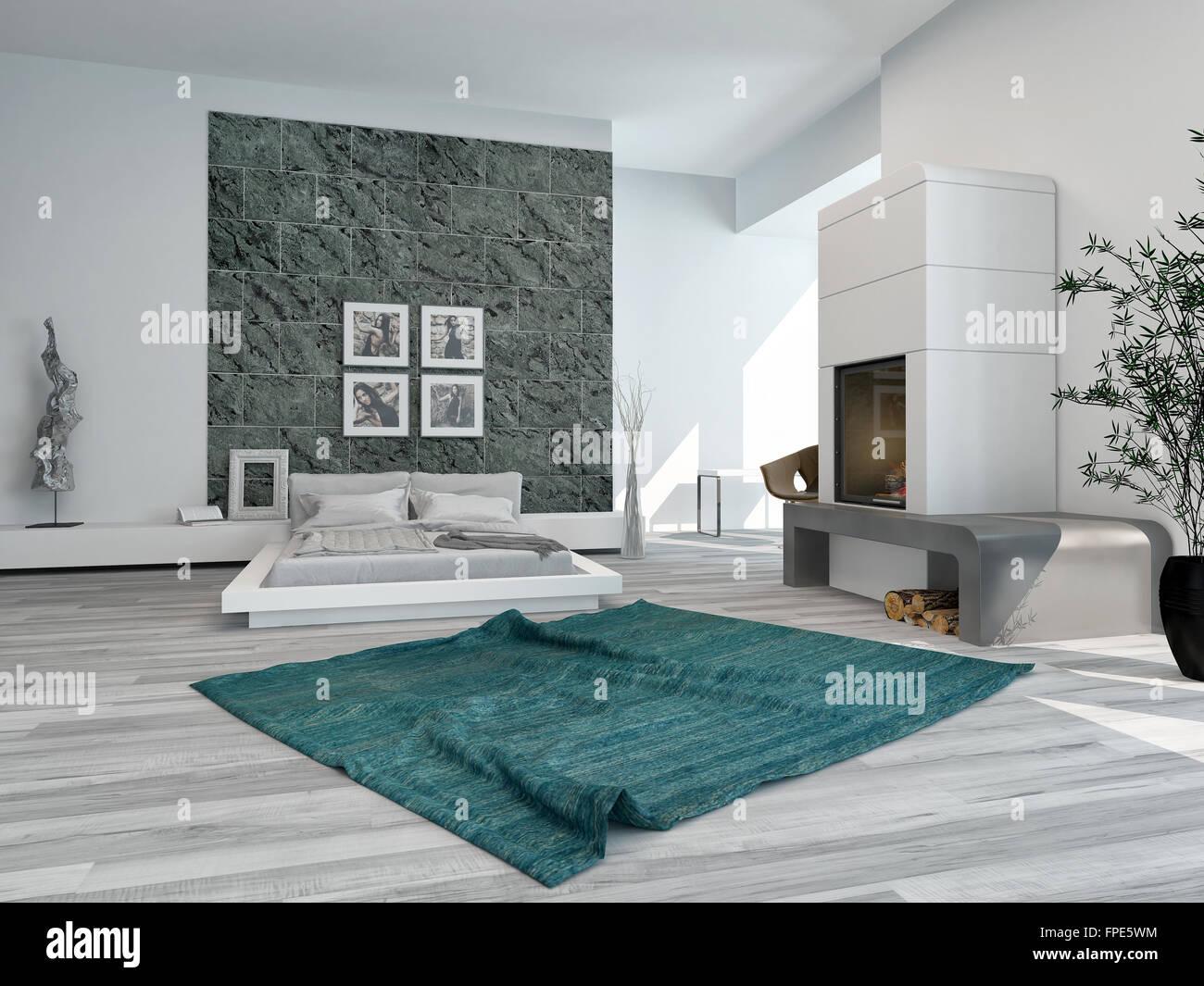 Elegante e moderna interiore camera da letto con un letto ...