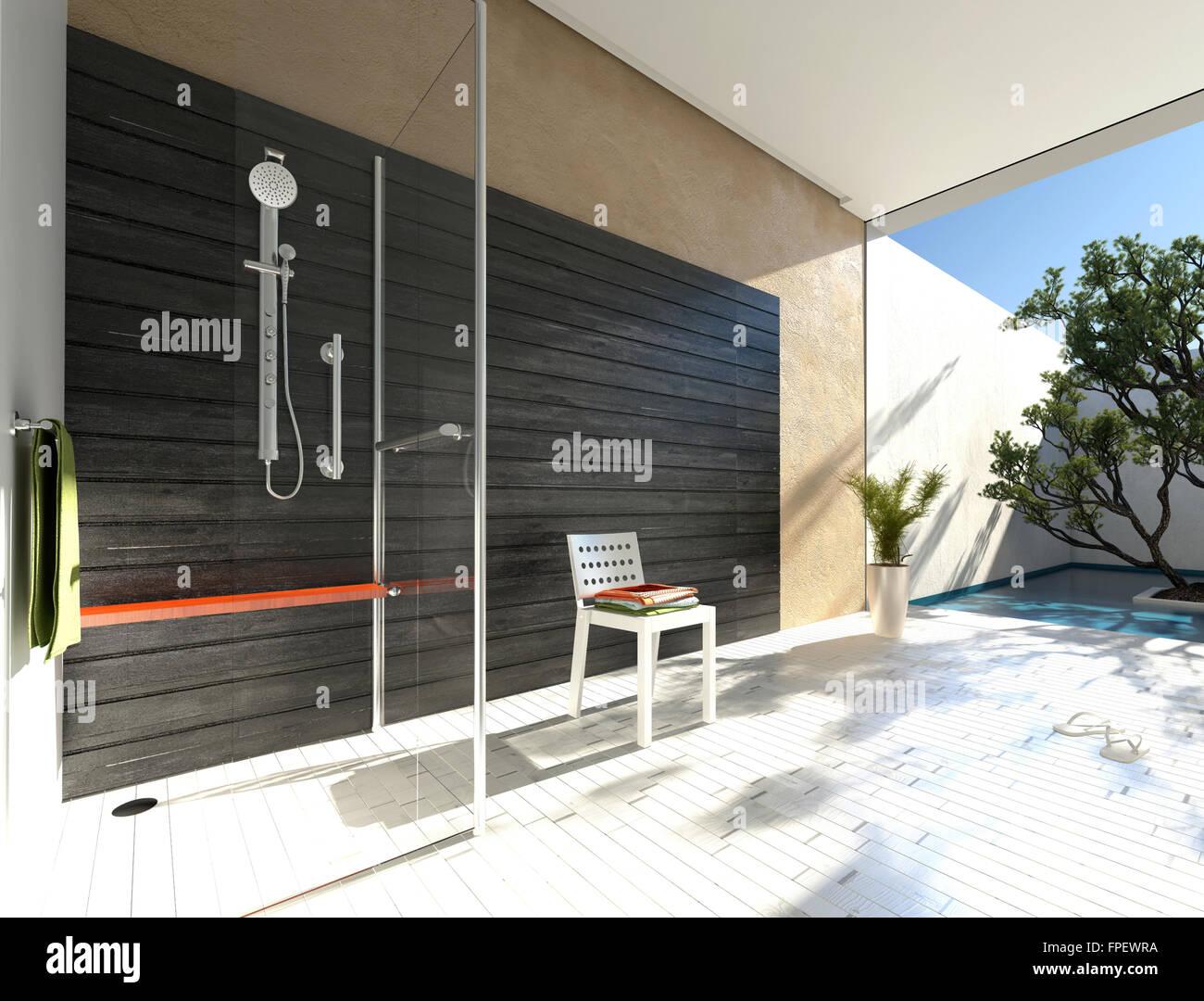Semplice box doccia in vetro in un bagno moderno con accento
