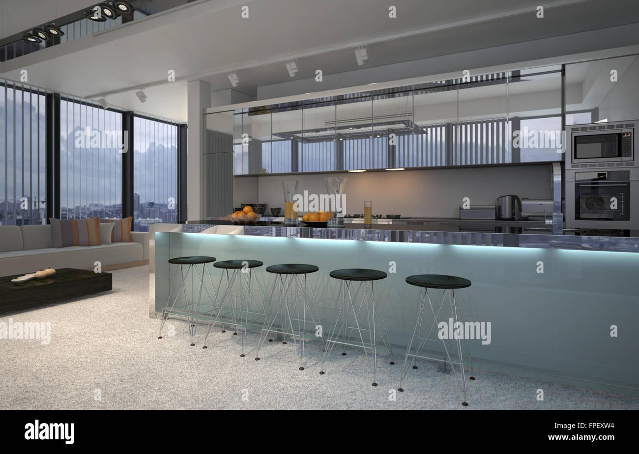 Spaziosa cucina a pianta aperta interno con un lungo bancone bar e