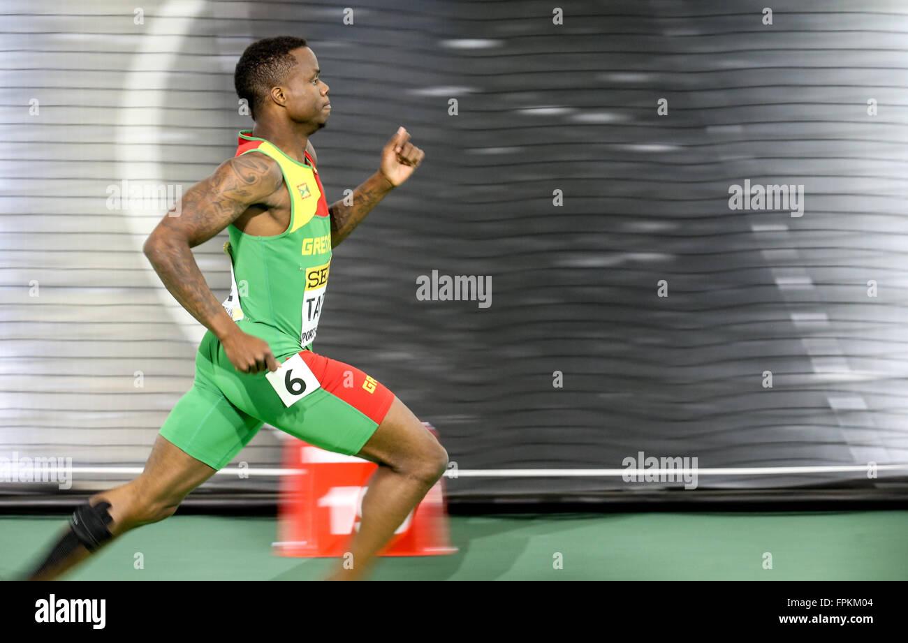 Portland, Oregon, STATI UNITI D'AMERICA MARZO 18, 2016 - BRALON TAPLIN compete in uomini 400m al 2016 IAAF mondiali Immagini Stock