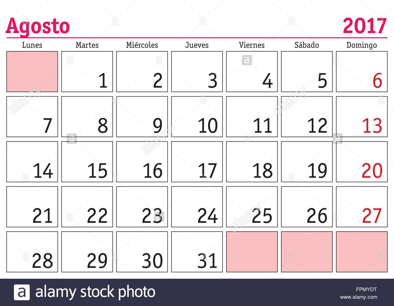Calendario Anno 2017.Il Mese Di Agosto In Un Anno 2017 Calendario Da Parete In