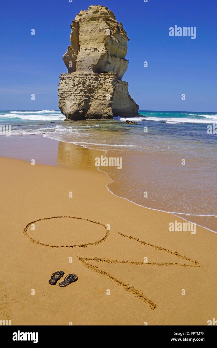 Spiaggia OZ segno a dodici Apostoli. Immagini Stock