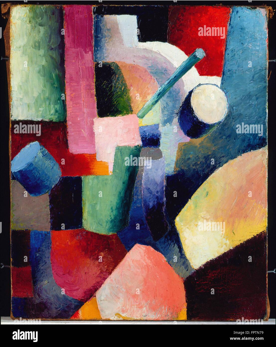 August Macke - composizione colorata di Forme - 1914 Immagini Stock