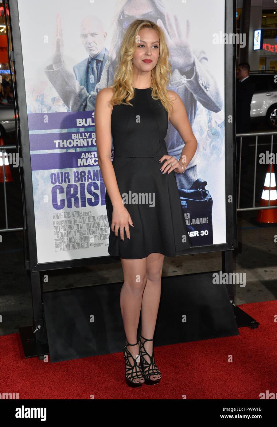 """LOS ANGELES, CA - Ottobre 26, 2015: attrice Gage Golightly presso il Los Angeles premiere di """"il nostro marchio Immagini Stock"""