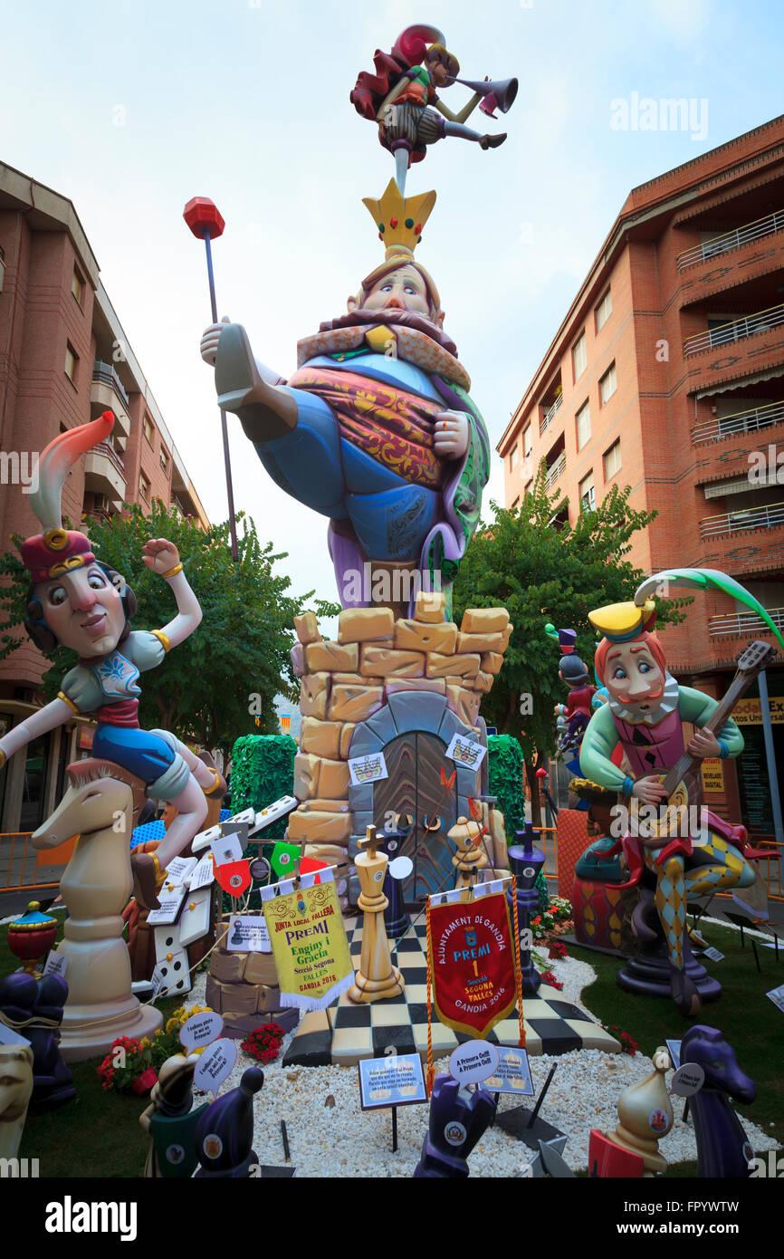 Una delle effigi creato per il Fallas Fiesta a Gandia Spagna Immagini Stock
