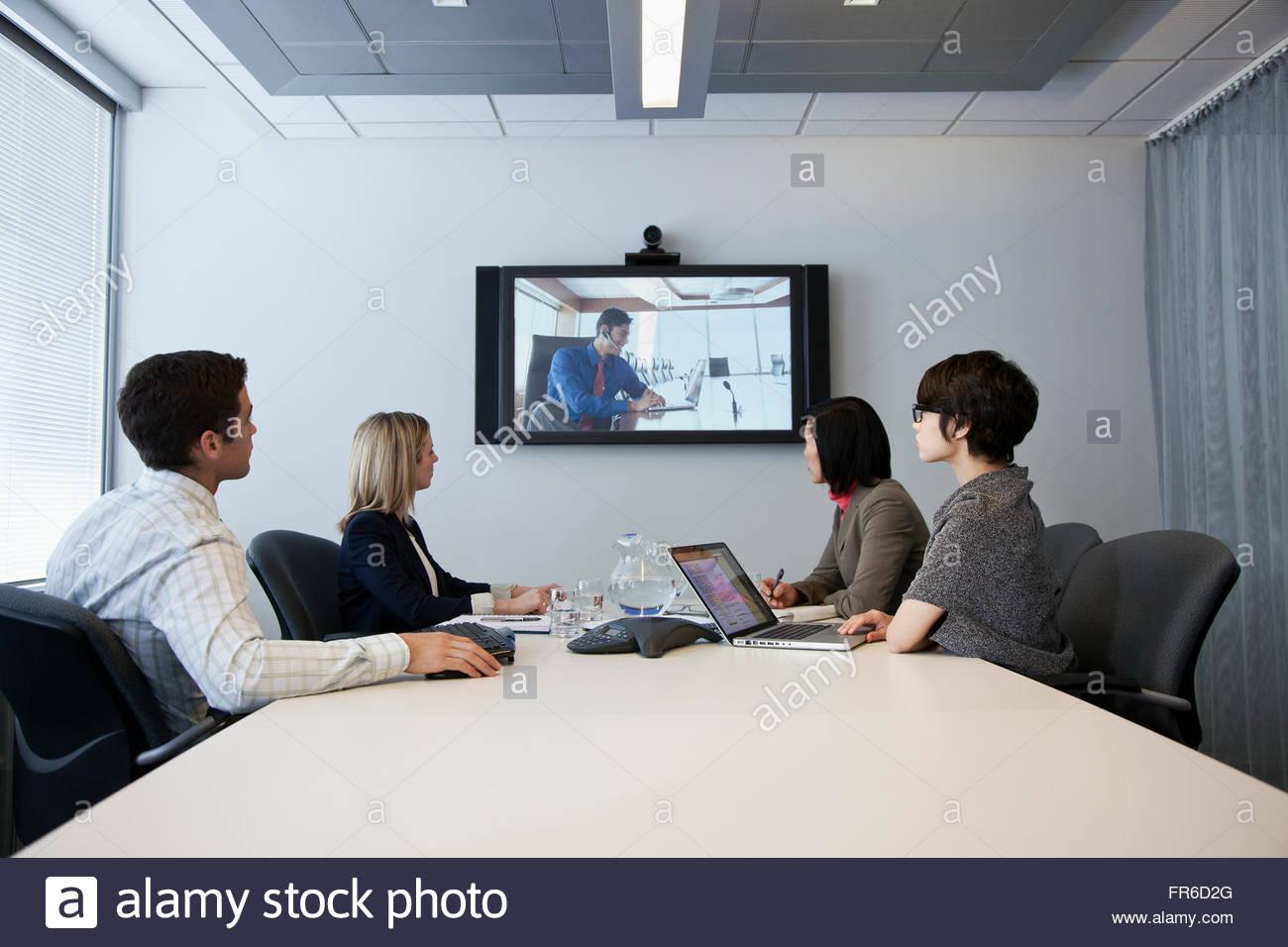 Gruppo di business video conferenze Immagini Stock