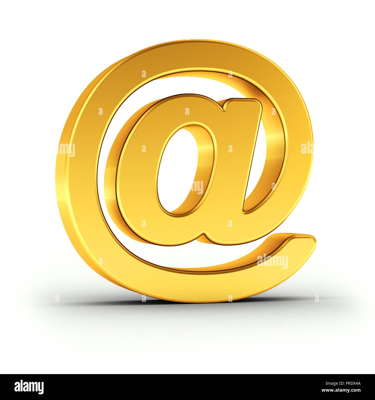 Il simbolo di posta elettronica come un lucido oggetto d'oro Immagini Stock