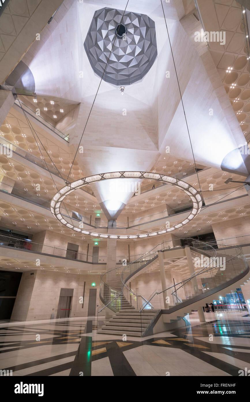 Vista interna del Museo di Arte Islamica di Doha in Qatar Immagini Stock