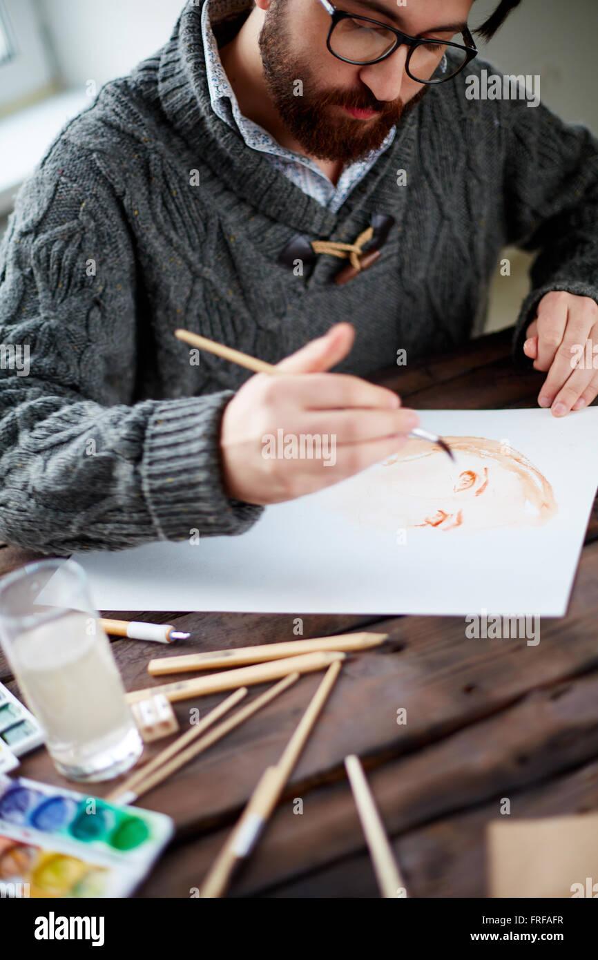 Pittura dell'uomo Immagini Stock
