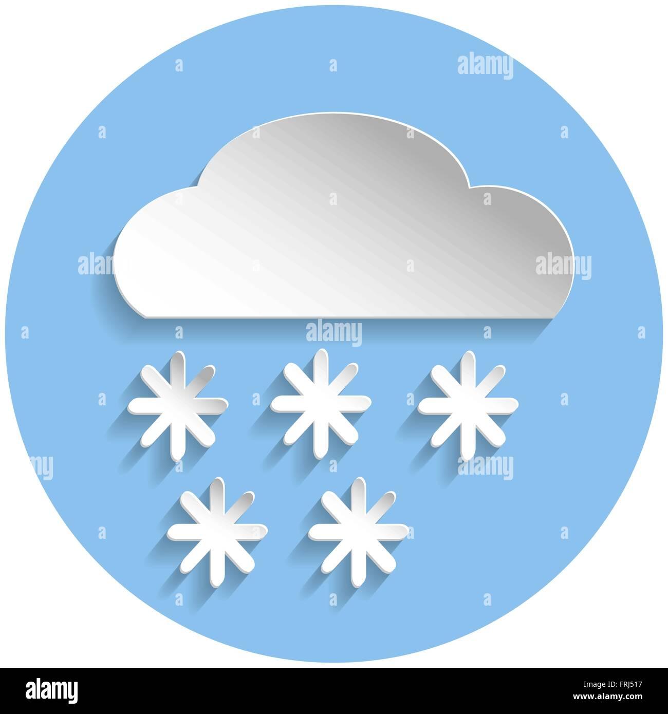 Il simbolo del fiocco di neve icona a forma di nuvola in stile carta blu su sfondo rotonda Immagini Stock
