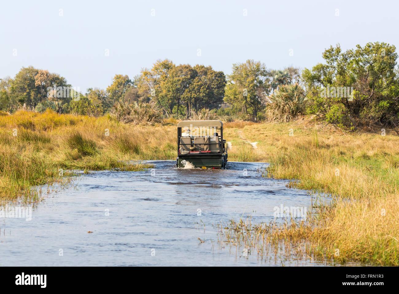 Safari 4WD jeep che attraversa un fiume di Ford, Sandibe Camp, mediante la Moremi Game Reserve, Okavango Delta, Immagini Stock