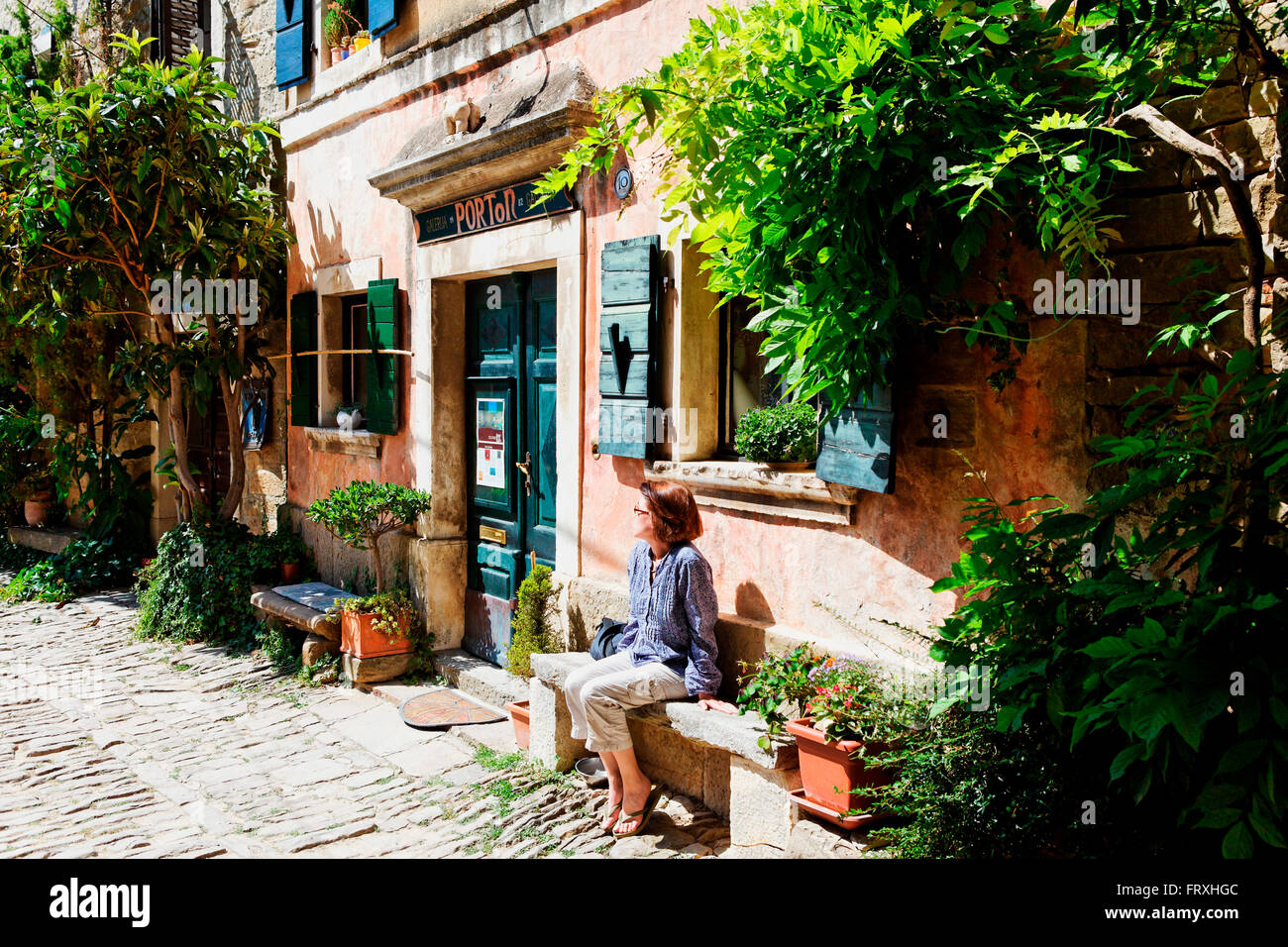 Villaggio artistico, Groznjan, Istria, Croazia Immagini Stock