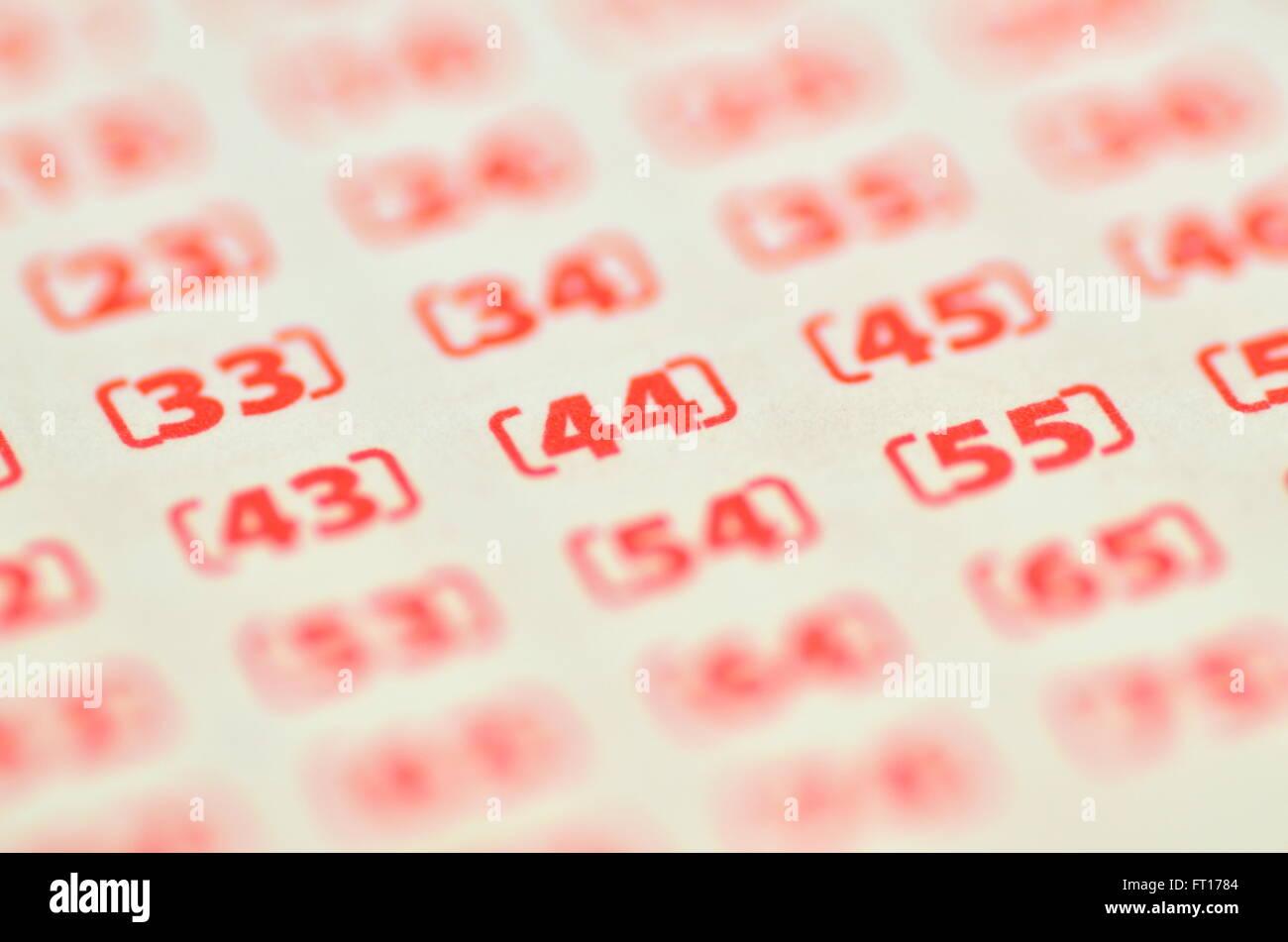 Vista dettagliata del biglietto della lotteria Immagini Stock